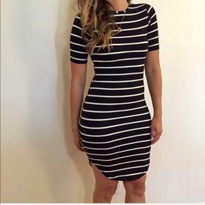 Black Striped Curved Hem Midi Dress